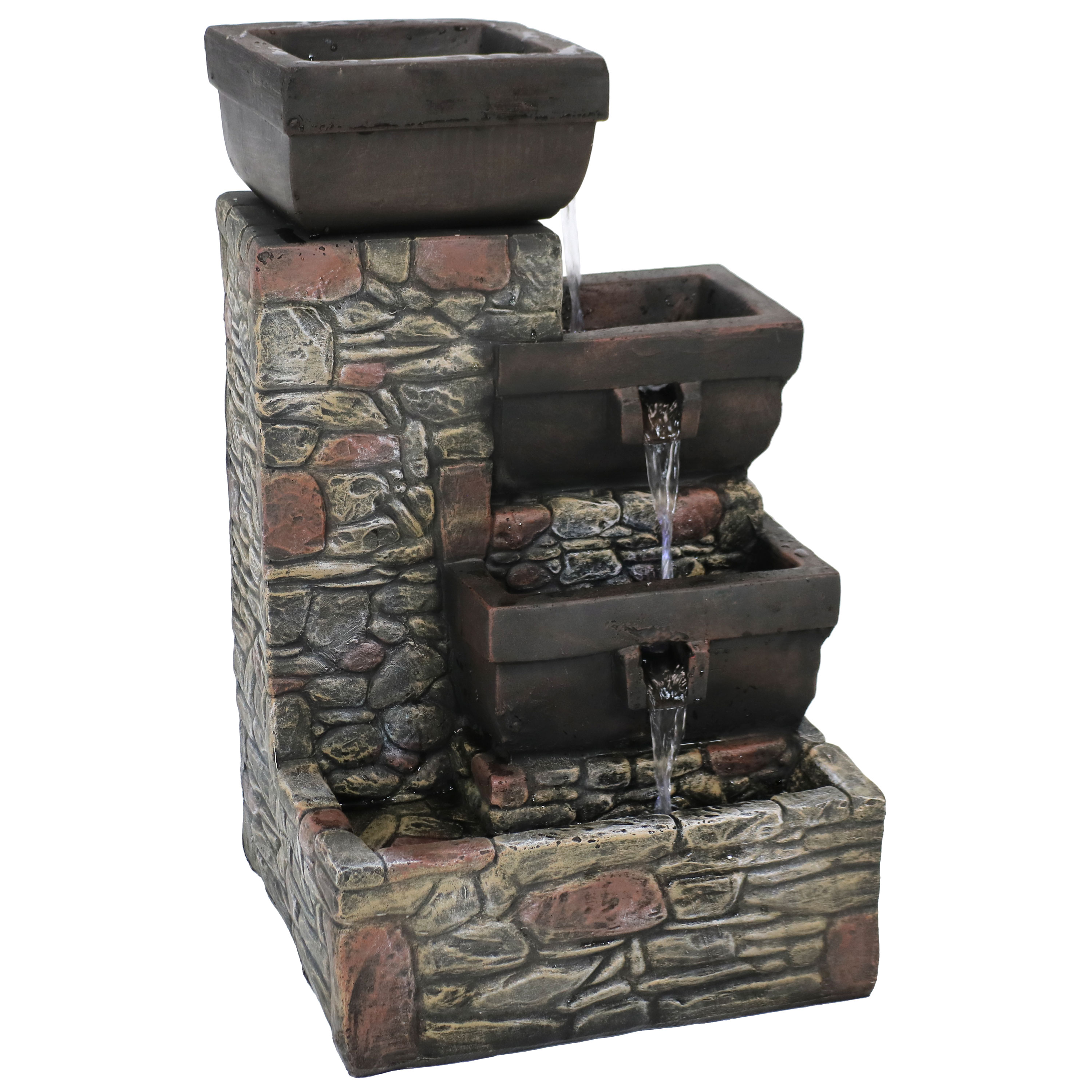 Cascading Waterfall Fountain Led Lights Patio Garden Water Stacked Stone Square Bowls Tall Photo