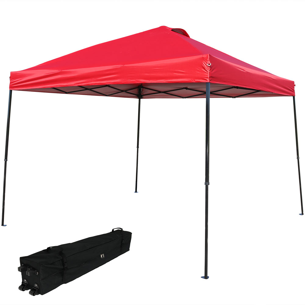 Straight Leg Canopy Event Shelter Red Rolling Bag Photo