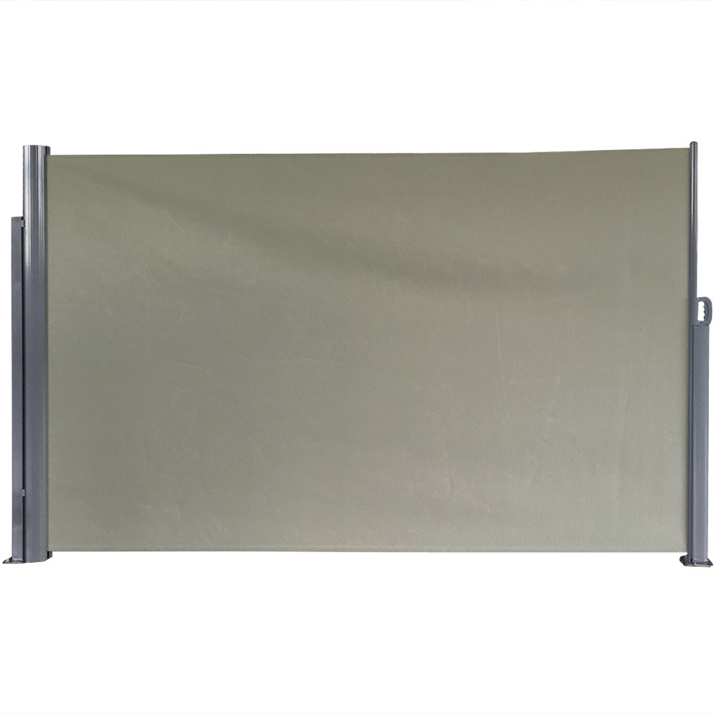 Patio Retractable Privacy Wall Folding Screen Divider Support Pole Feet Grey Photo