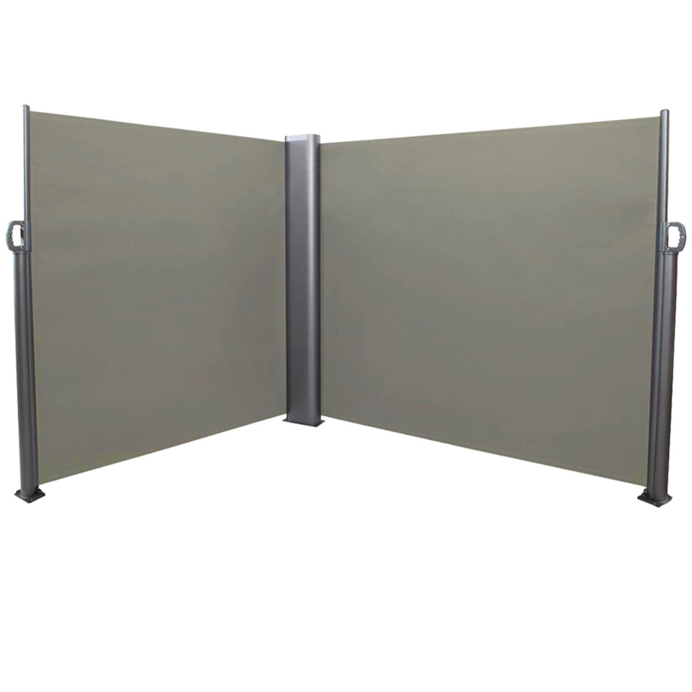 Patio Retractable Double Privacy Wall Corner Folding Screen Divider Support Pole Feet Grey Photo