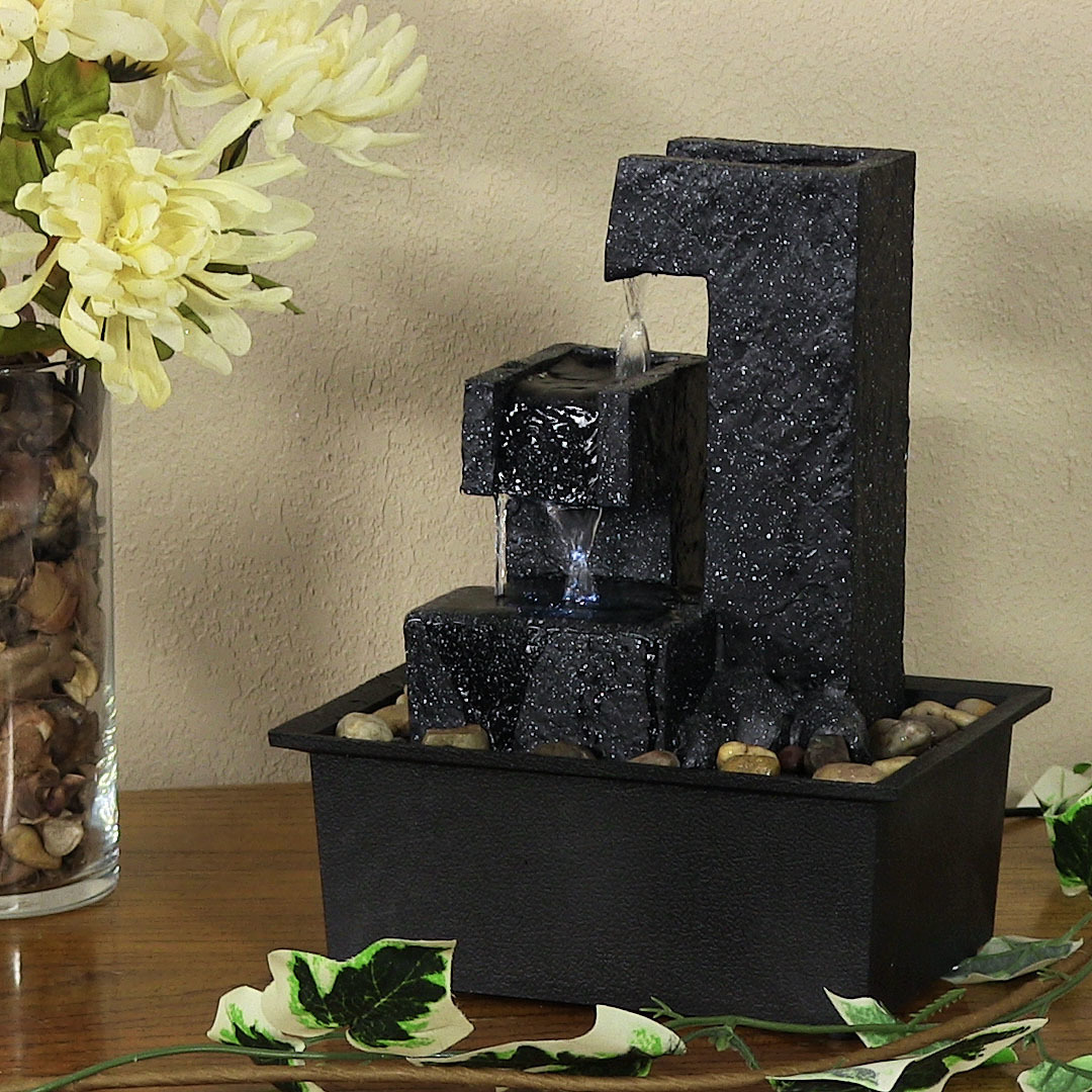 Sunnydaze Square Tiered Small Tabletop Water Fountain Picture 942