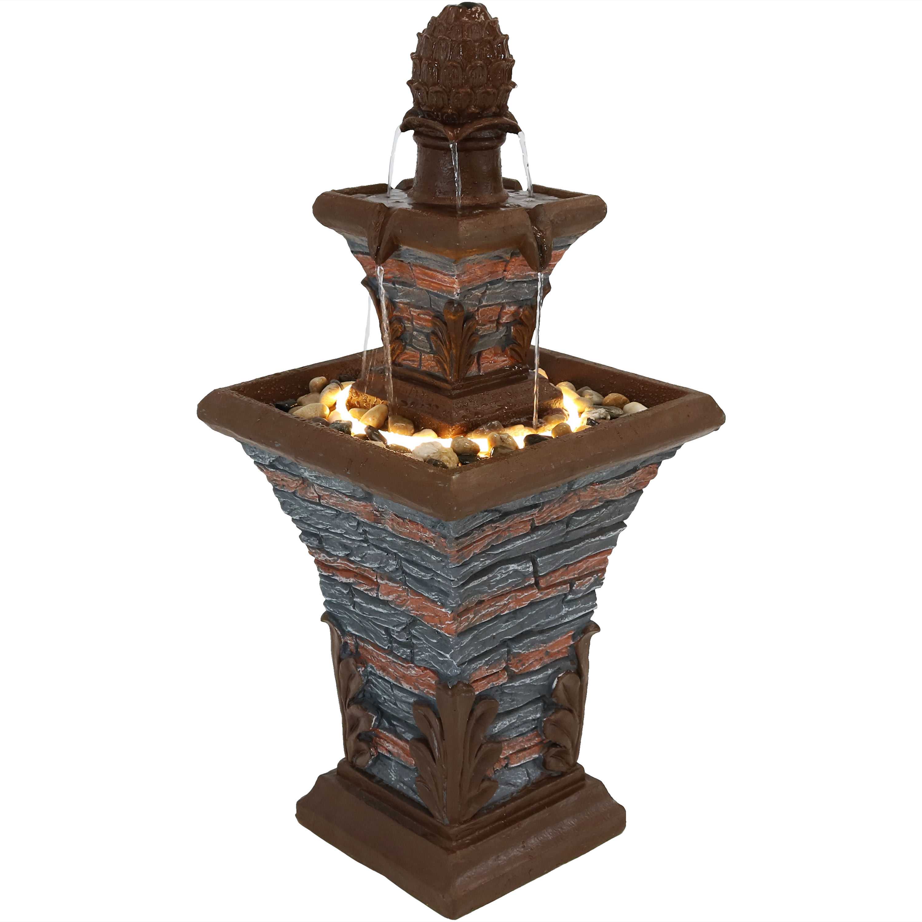 Square Water Fountain Led Rope Light Stacked Stone Design Photo