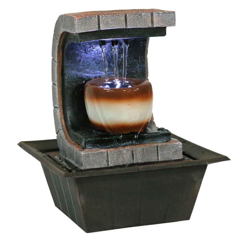 Sunnydaze Meditation Tabletop Fountain with LED Lights, Small Desktop Water Feature, Home or Office, 10 Inch