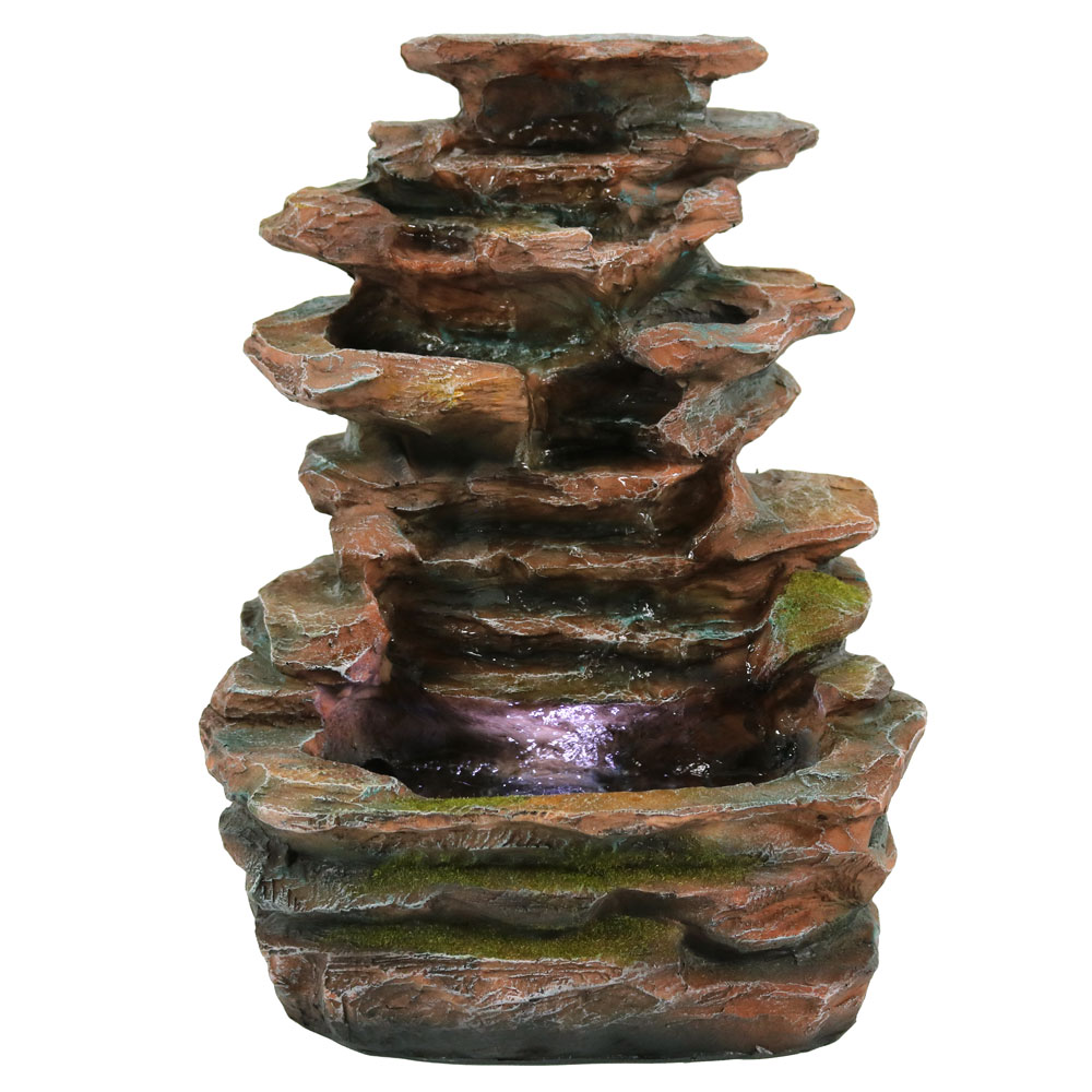 Sunnydaze Soothing Rock Falls Tabletop Fountain with LED Lights, 15 Inch