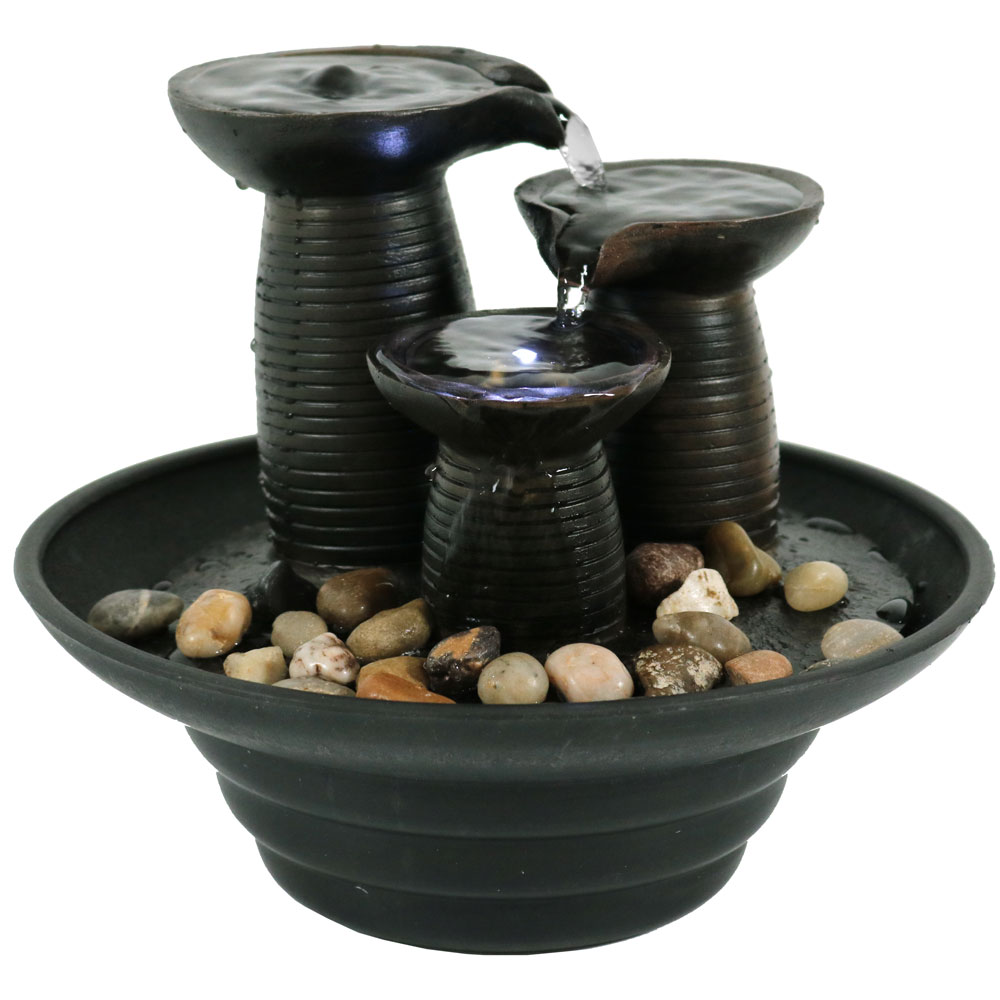 Sunnydaze Tabletop Water Fountain with LED Light, Indoor or Outdoor, Small Three Pillars