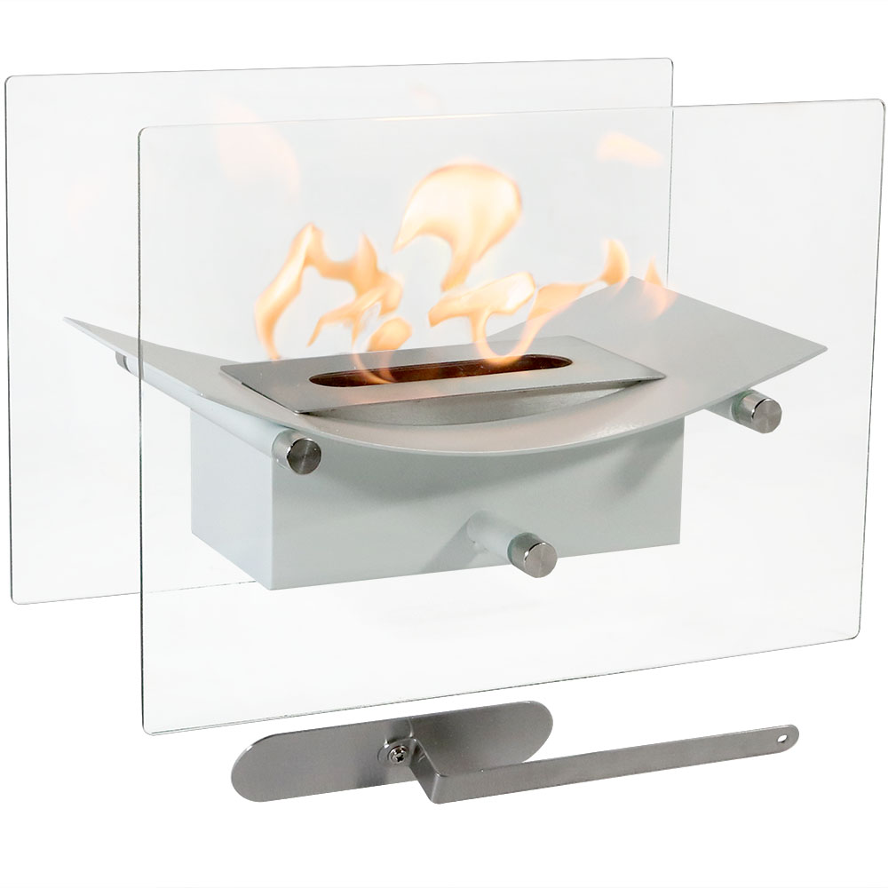 Sunnydaze Zen Tabletop Fireplace, Indoor Ventless Bio Ethanol Fire Pit, Long Lasting Burn Time, White