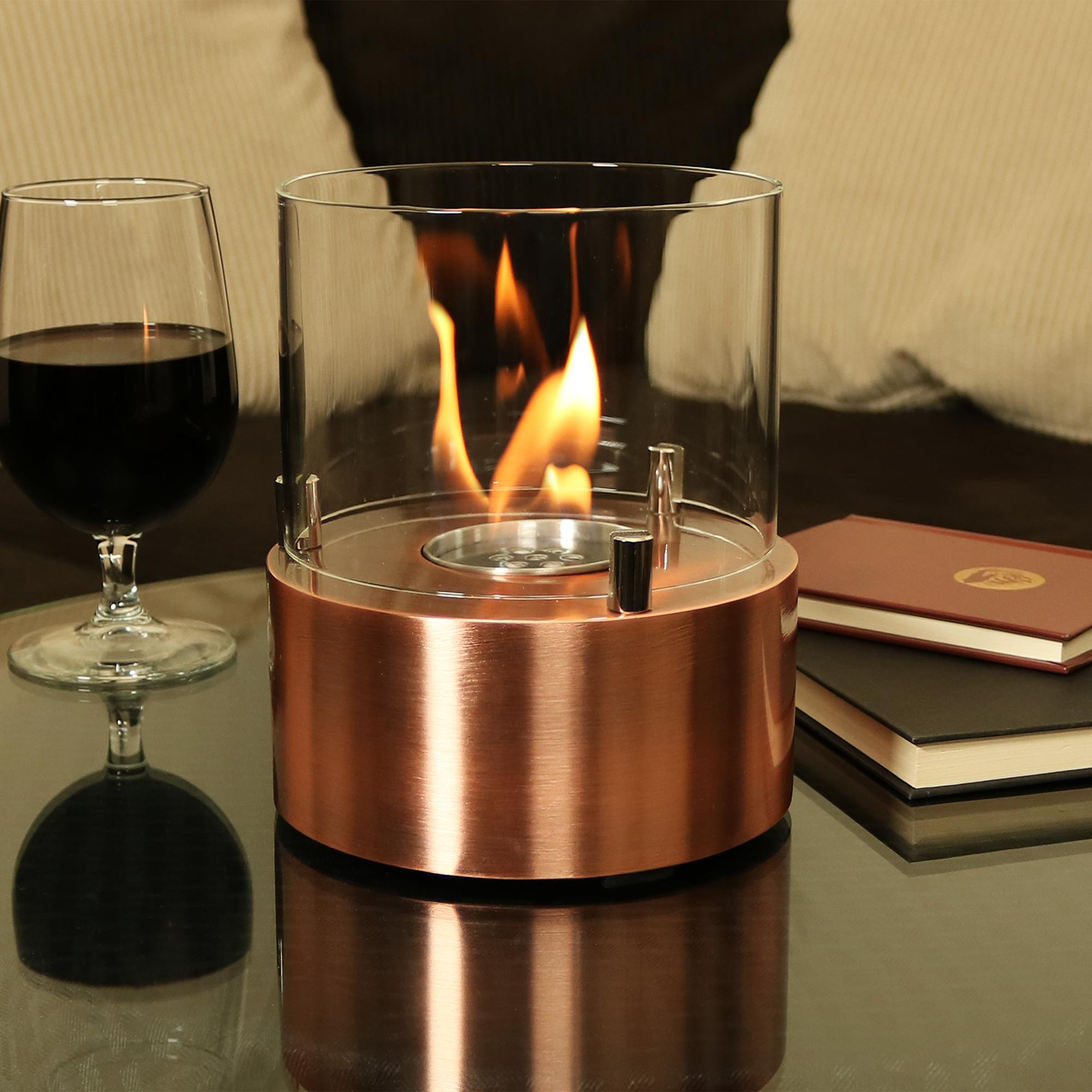 Copper Tre Poli Tabletop Fireplace