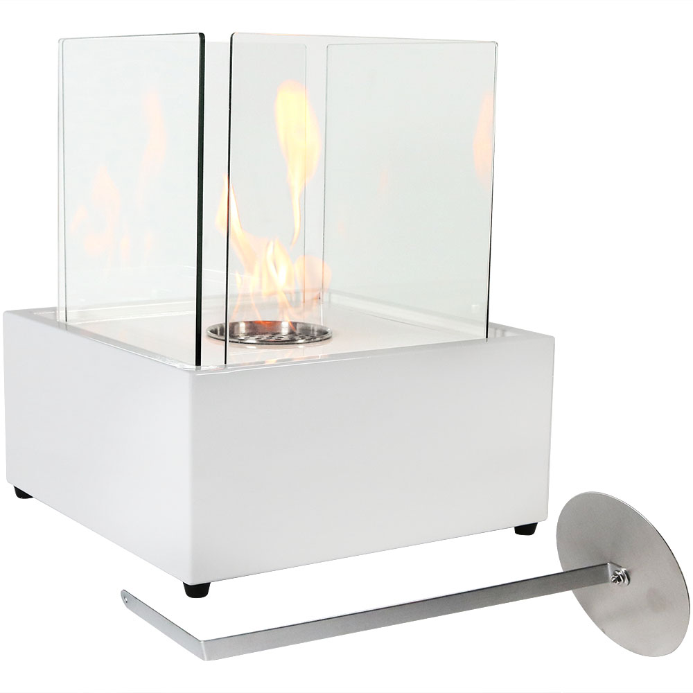 Sunnydaze Indoor Tabletop Fireplace, Ventless Bio Ethanol, White Cubic