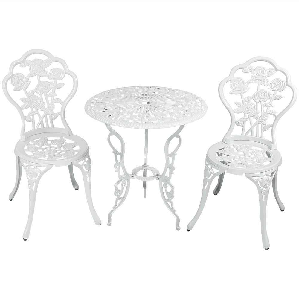 Flower Designed Bistro Table Set Chairs White Photo