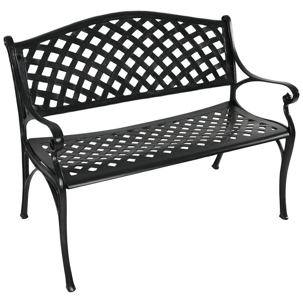Black Checkered Patio Bench Metal Seating Photo