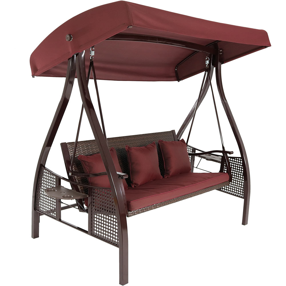 Seat Patio Swing Frame Canopy Maroon Cushions Photo