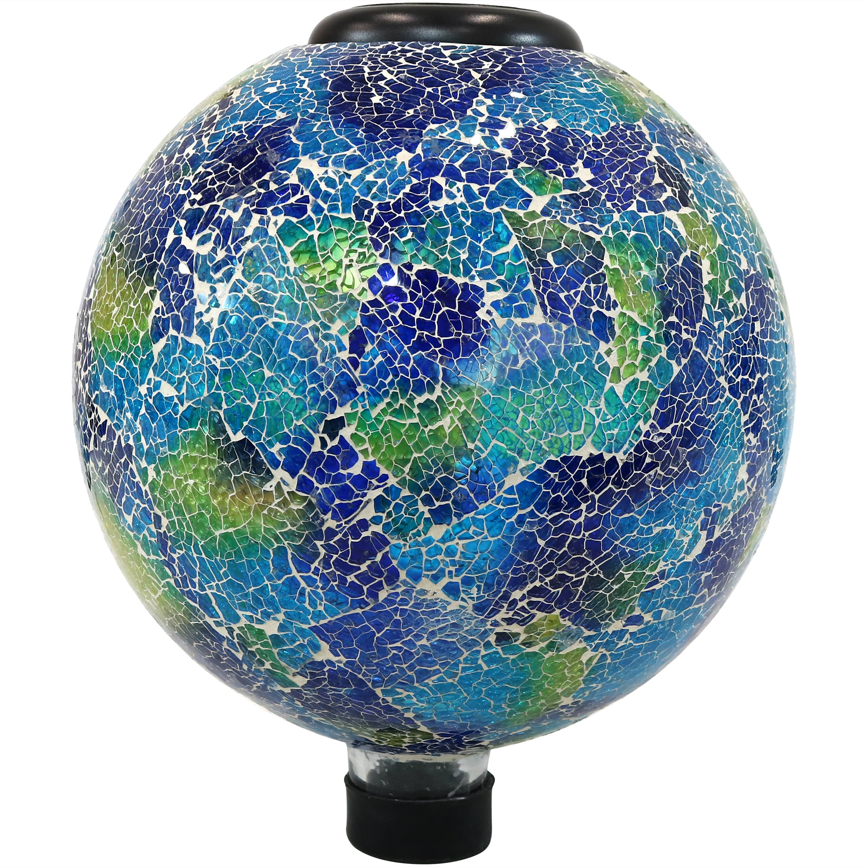 Sunnydaze Garden Gazing Globe with LED Solar Light, Crackled Glass Azul Terra Design, Outdoor and Landscape Decor, 10-Inch