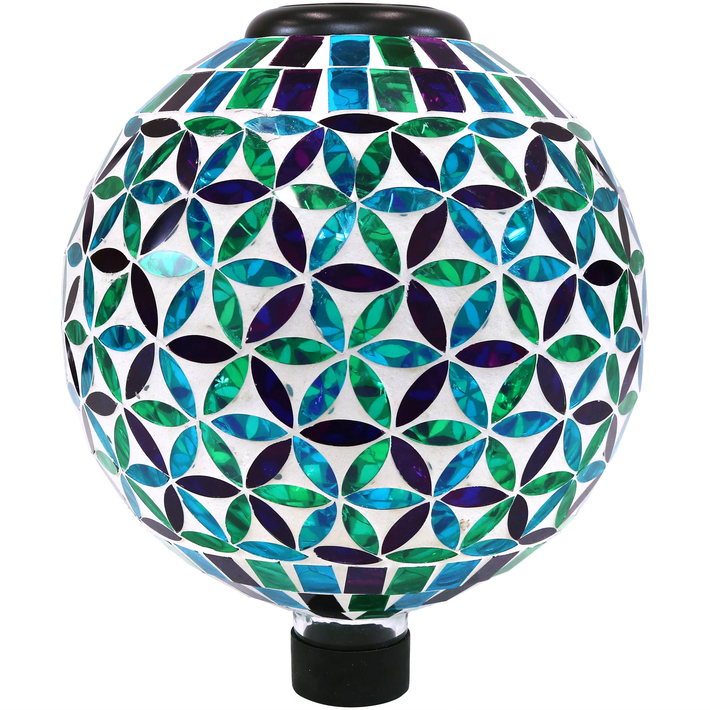 Sunnydaze Glass Mosaic Gazing Globe with Solar Light, Blue Cool Blooms Design, Garden and Landscape Decor, 10-Inch
