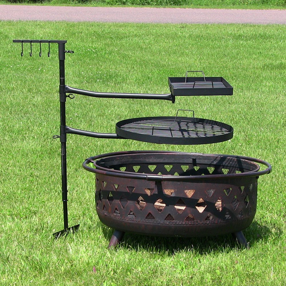 Dual Campfire Adjustable Swiveling Cooking Grill System