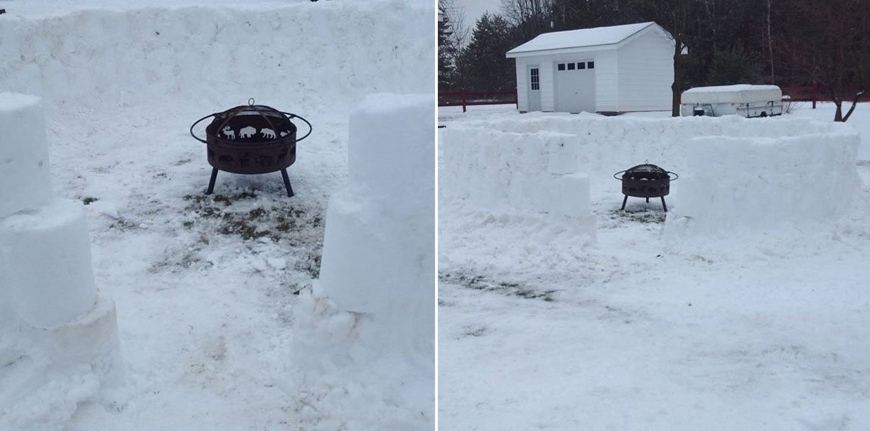 Build A Snow Fort And Place Fire Pit Inside It