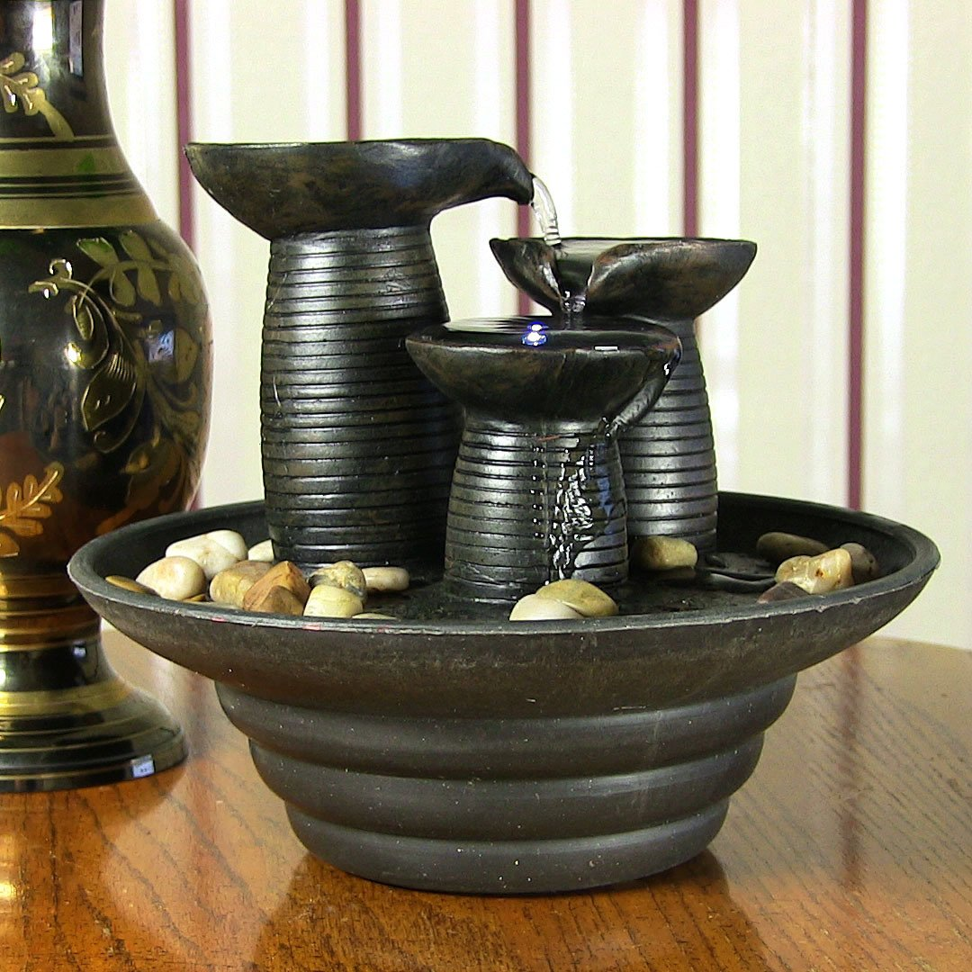 Three Pillars Pouring Tabletop Water Fountain